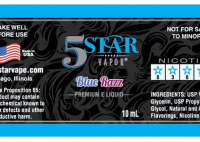 5 Star Blue Razz Vapor Label Design